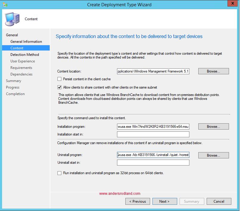 Deploy Windows Management Framework with SCCM - Step 5