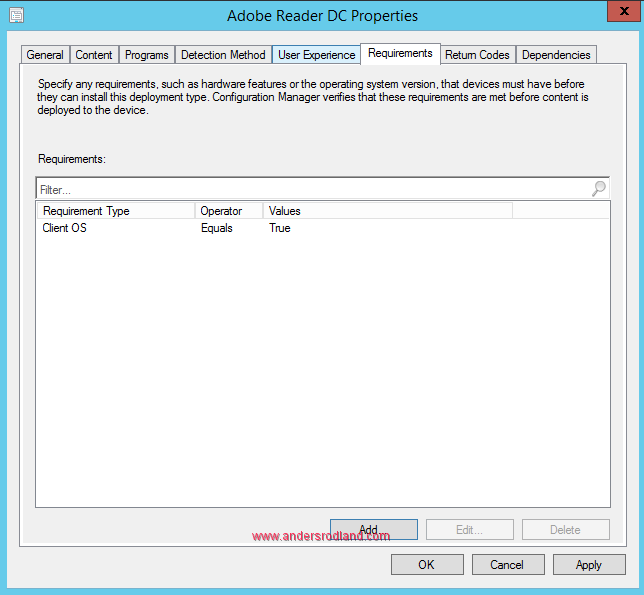 Global Conditions in SCCM - Client OS condition 1