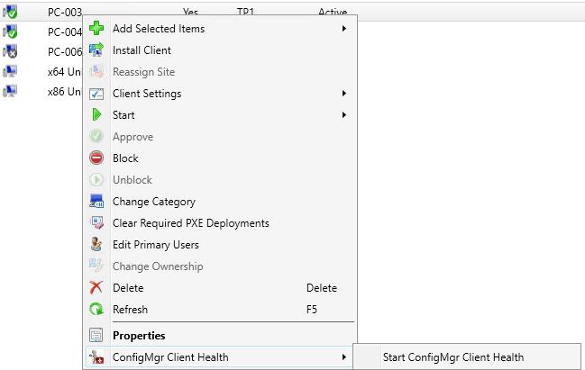 ConfigMgr Client Health Right Click Tool